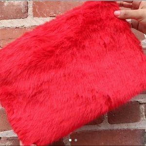 Strawberry Red Fuzzy Clutch